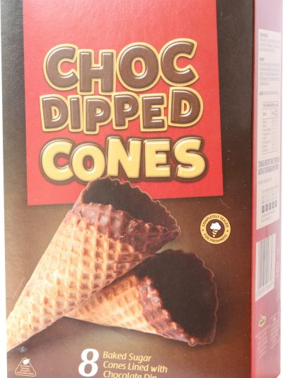 Sugar cones Choc Dipped  pack of 8's x 1 single box